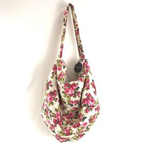 NWT Cotton On Hobo Slouch Floral Bag Purse Roses